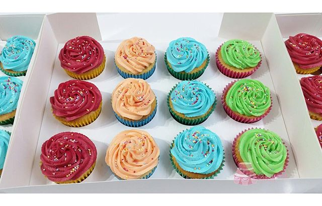 Rainbow Buttercream Sprinkle Cupcakes