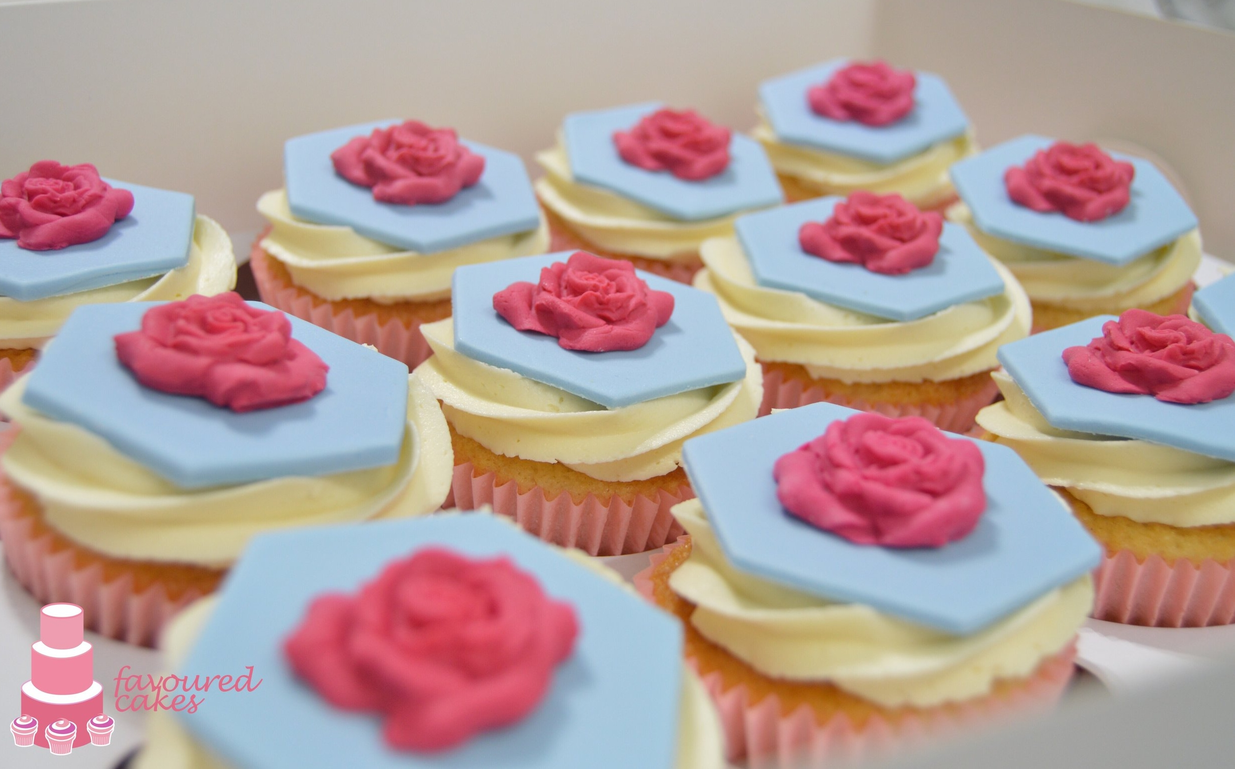 Hot Pink Rose Cupcakes
