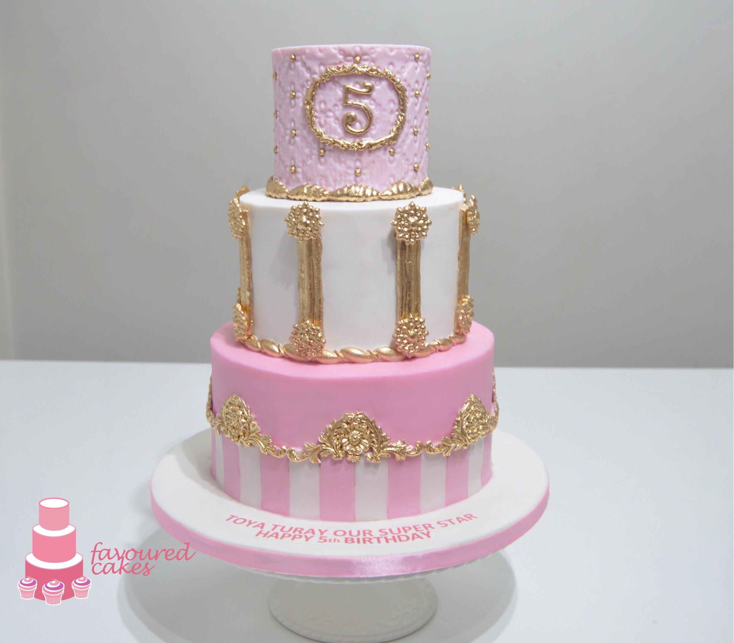 Pink & White Stripe Cake