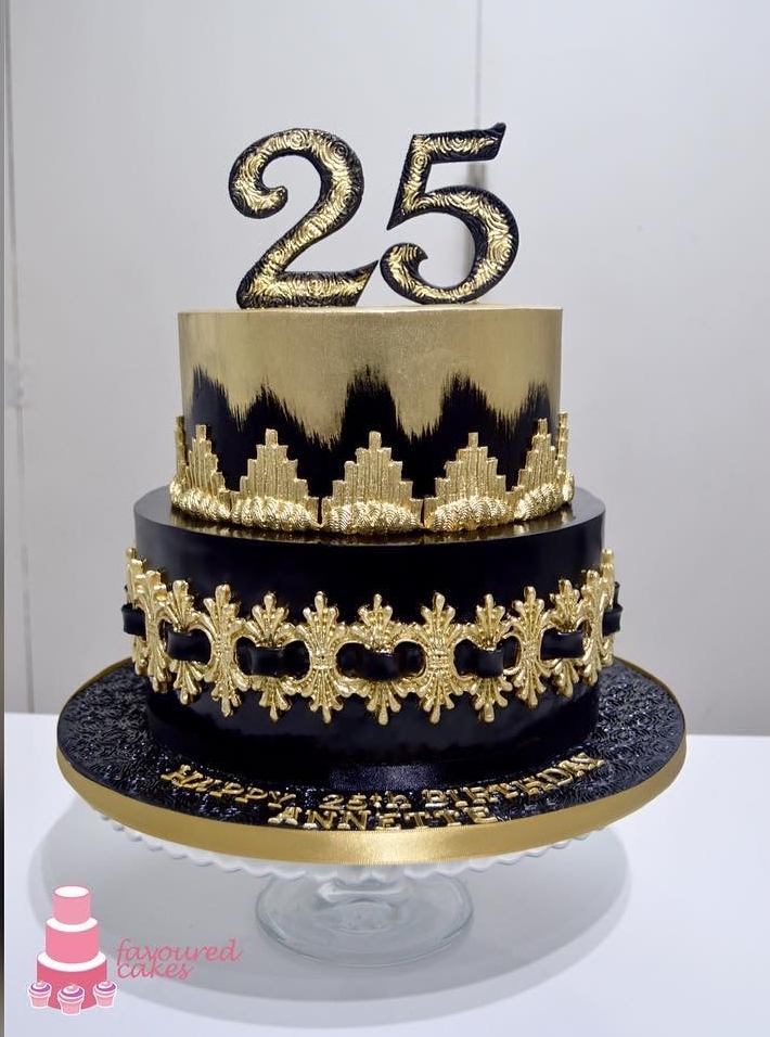 Black & Gold Brush Cake