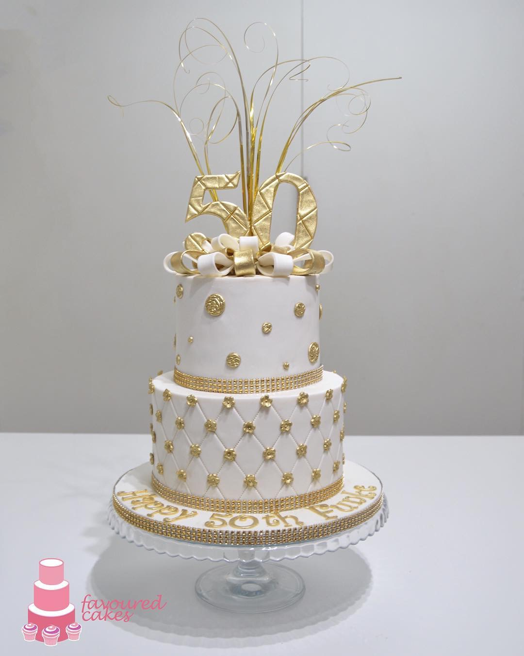 White & Gold Spray Cake