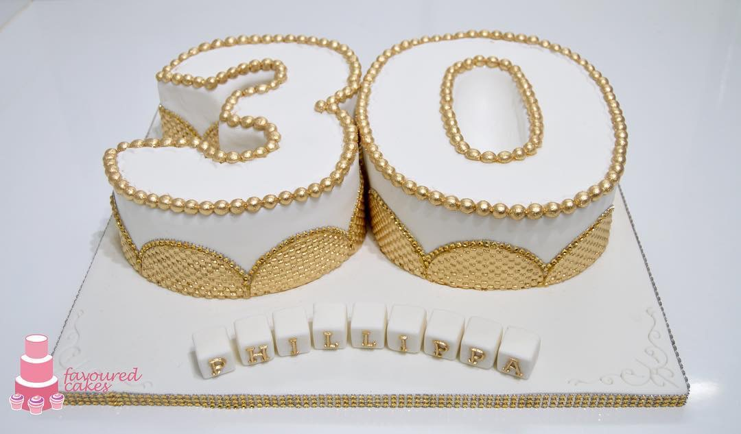 Gold Bead Number Cake