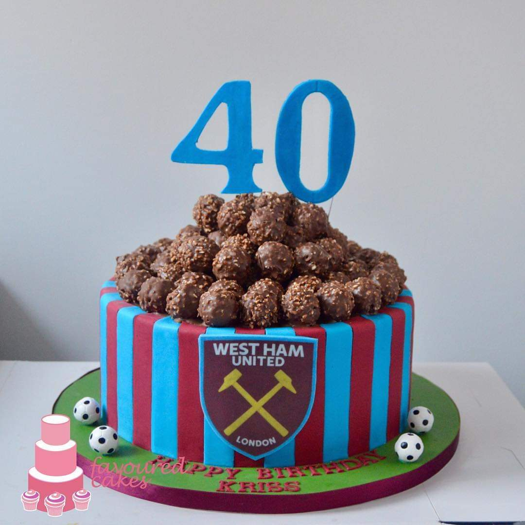 West Ham Stripes Choc Burst Cake