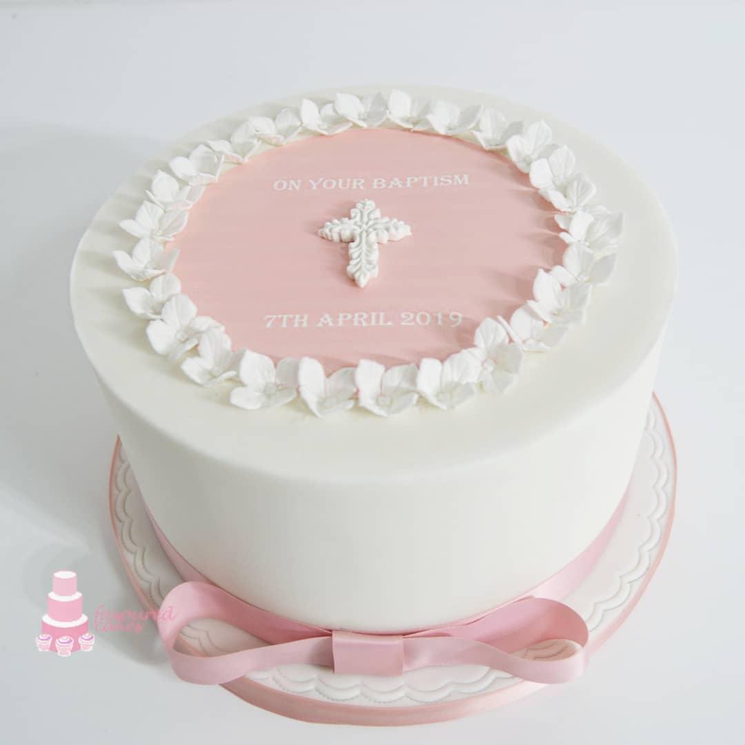 Flower Border Baptism Cake