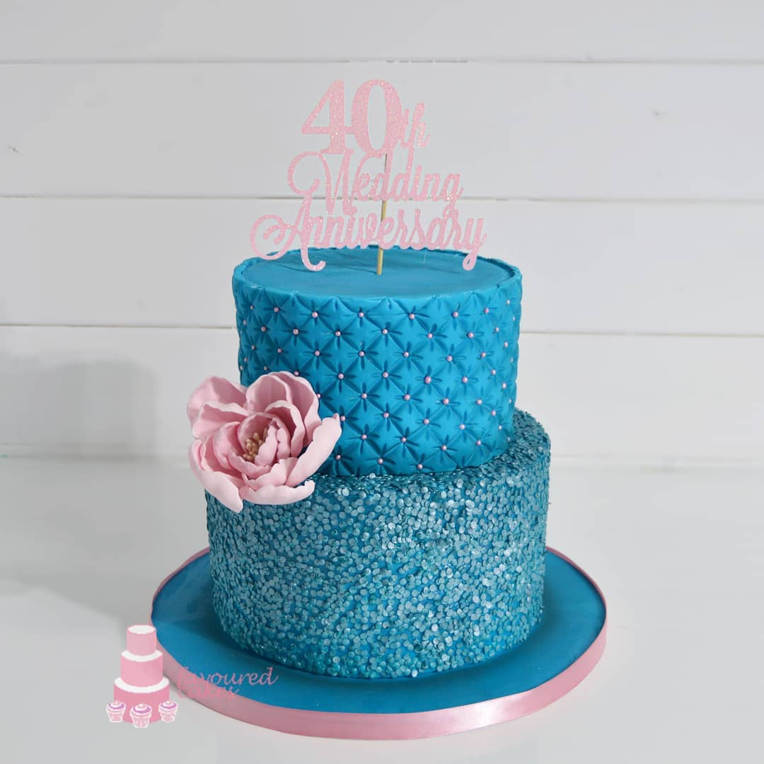 Quilted Sequin &  Peony Cake