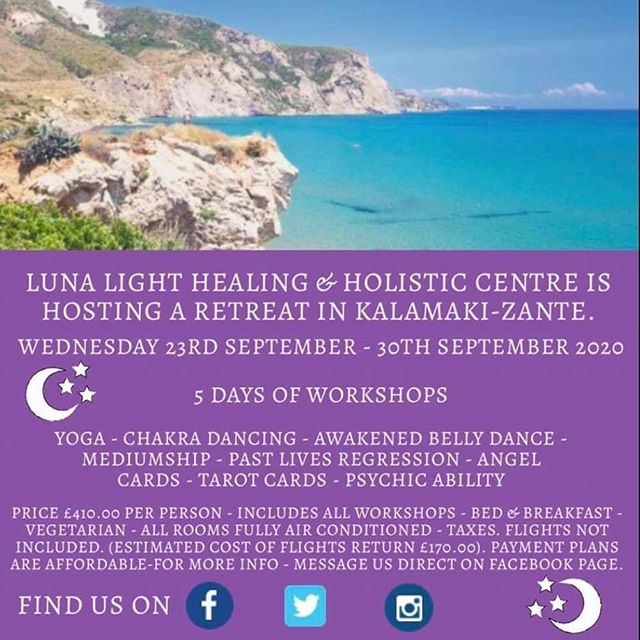Sooo excited to be sharing yoga as part of this amazing retreat!!! Check out Luna Light Healing and Holistic Centre's Facebook page for  more details.  The dates are 23rd-30th September 2019 and there are payment plans available so plenty of time to get sorted!! ❤❤❤
