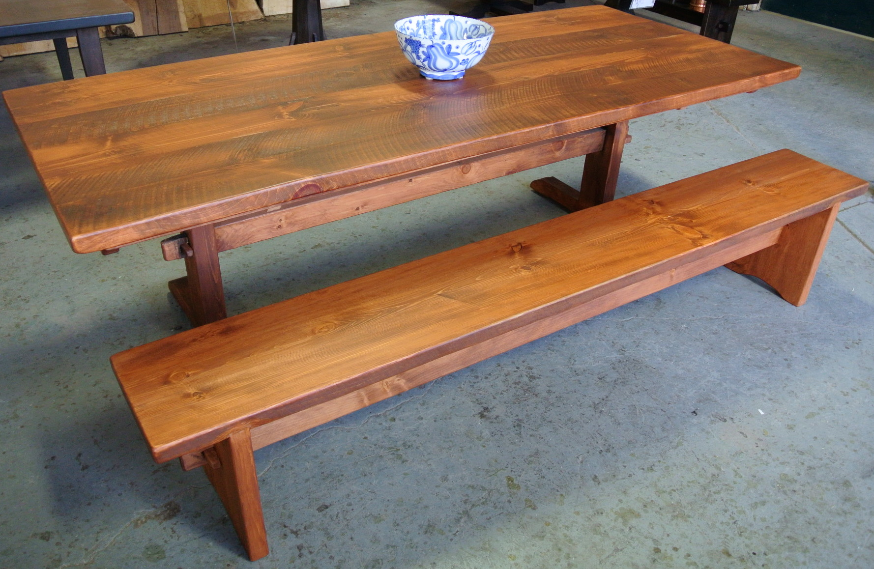 Solid Pine Classic Trestle Table. Matching Pine Slab Trestle Bench.