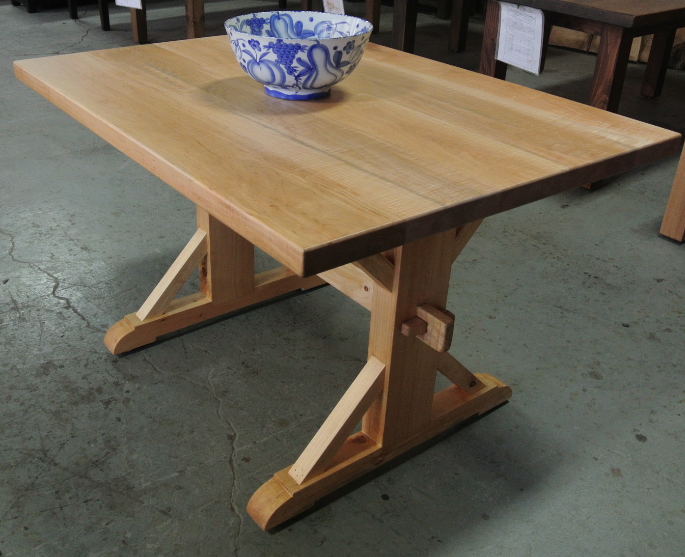 Maple Dutch Trestle Table. Solid Wood.