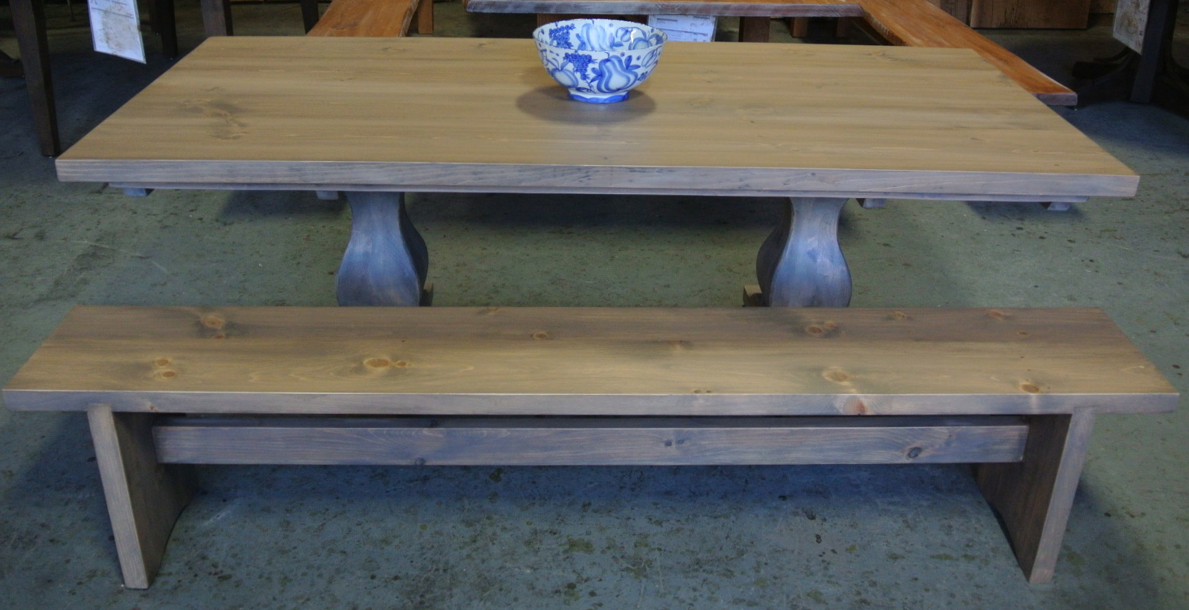 French Trestle Table in Solid Pine. Wisteria stain. Slab Trestle Bench.