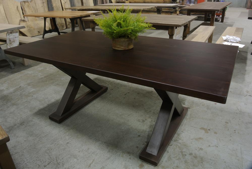 Custom X-base Dining Table. Dark Spice Brown stain.