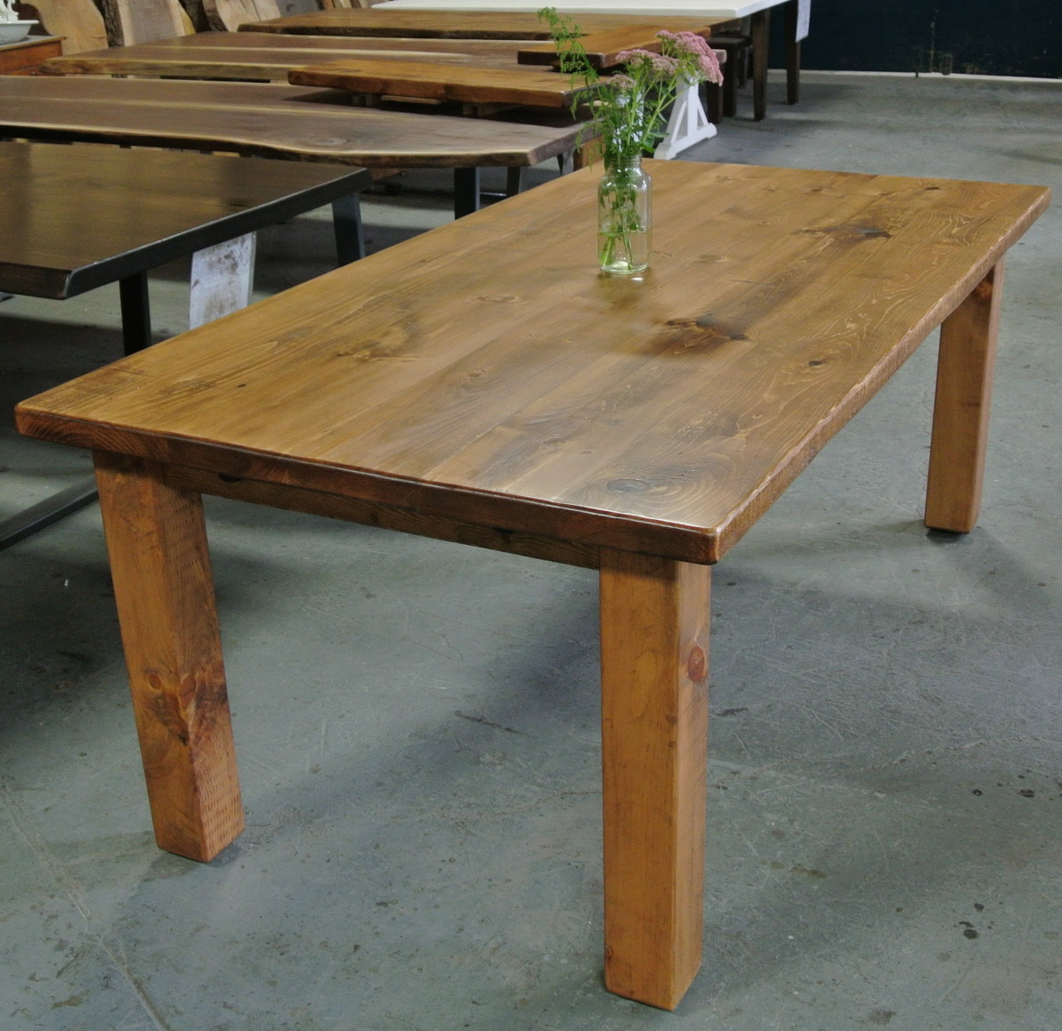 Farm Table with Square Legs. Pine with Light Early American Stain.