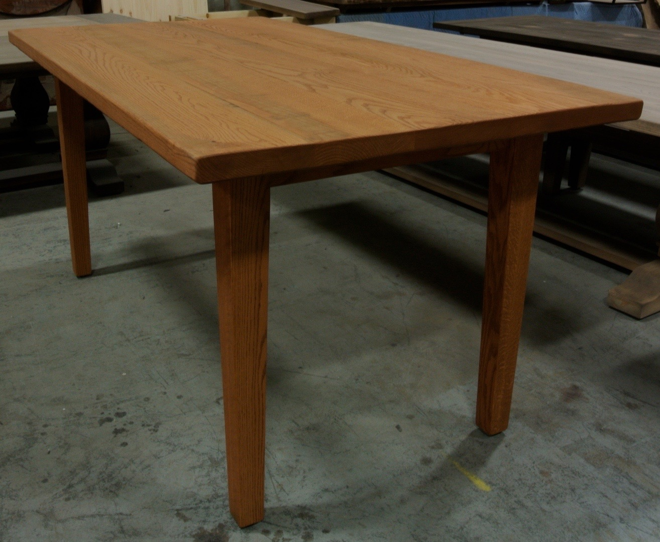 Farm Table with Tapered Legs. Red Oak.