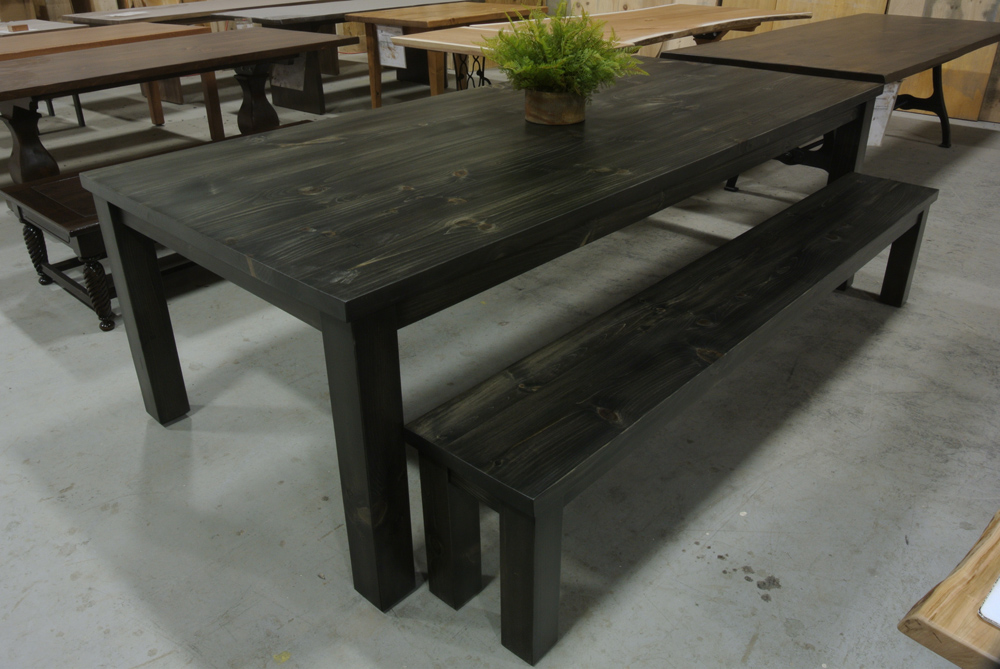 Pine Parsons Table with Square Legs. Blackwashed.