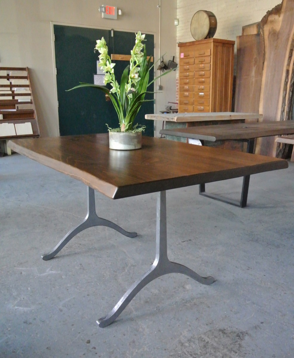 Modified Live Edge. Pine Tabletop on Wishbone Legs finished in Bright Hammered Steel.
