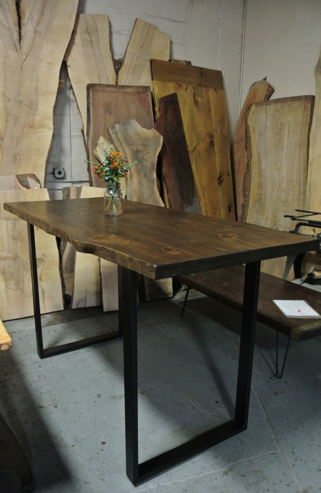 Tall Pine Live Edge Table on 3x1 Square Legs. Bar Height.