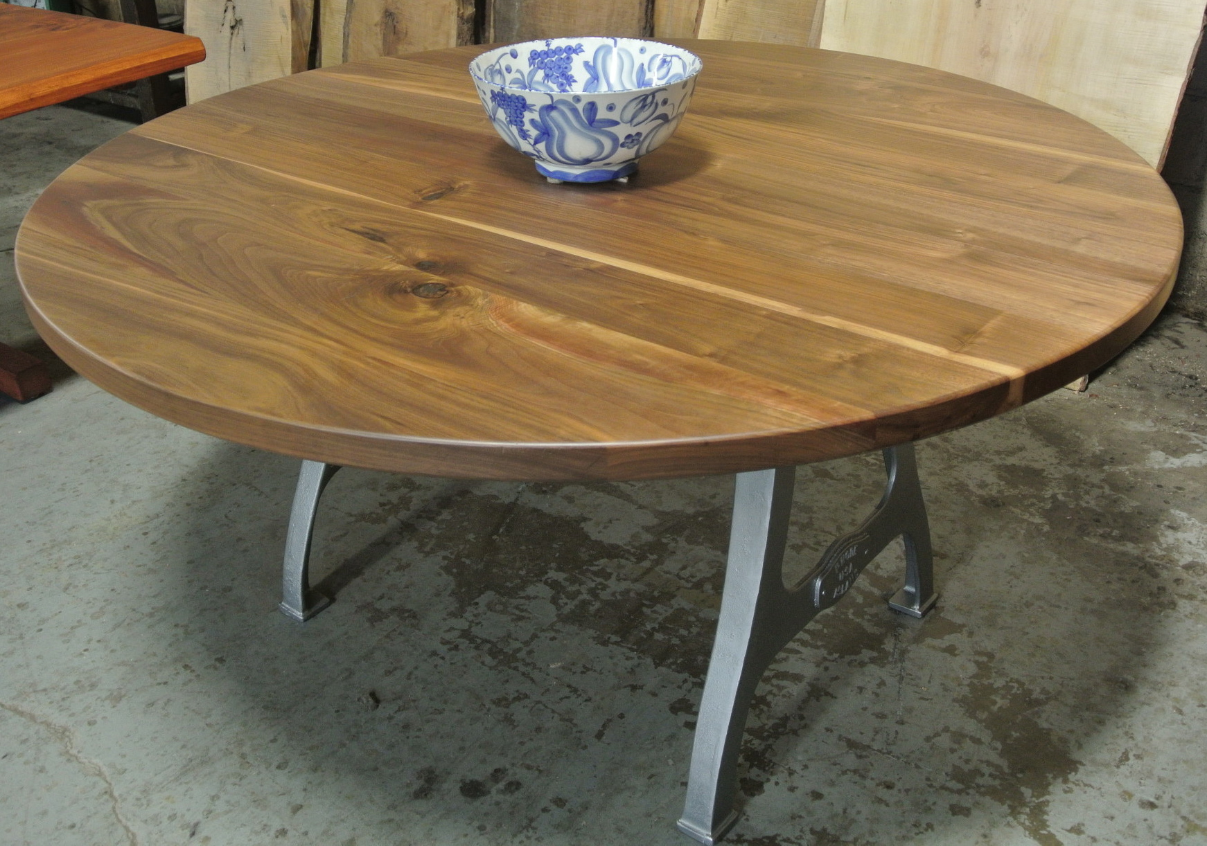 Round Walnut Table on Rhode Island Legs
