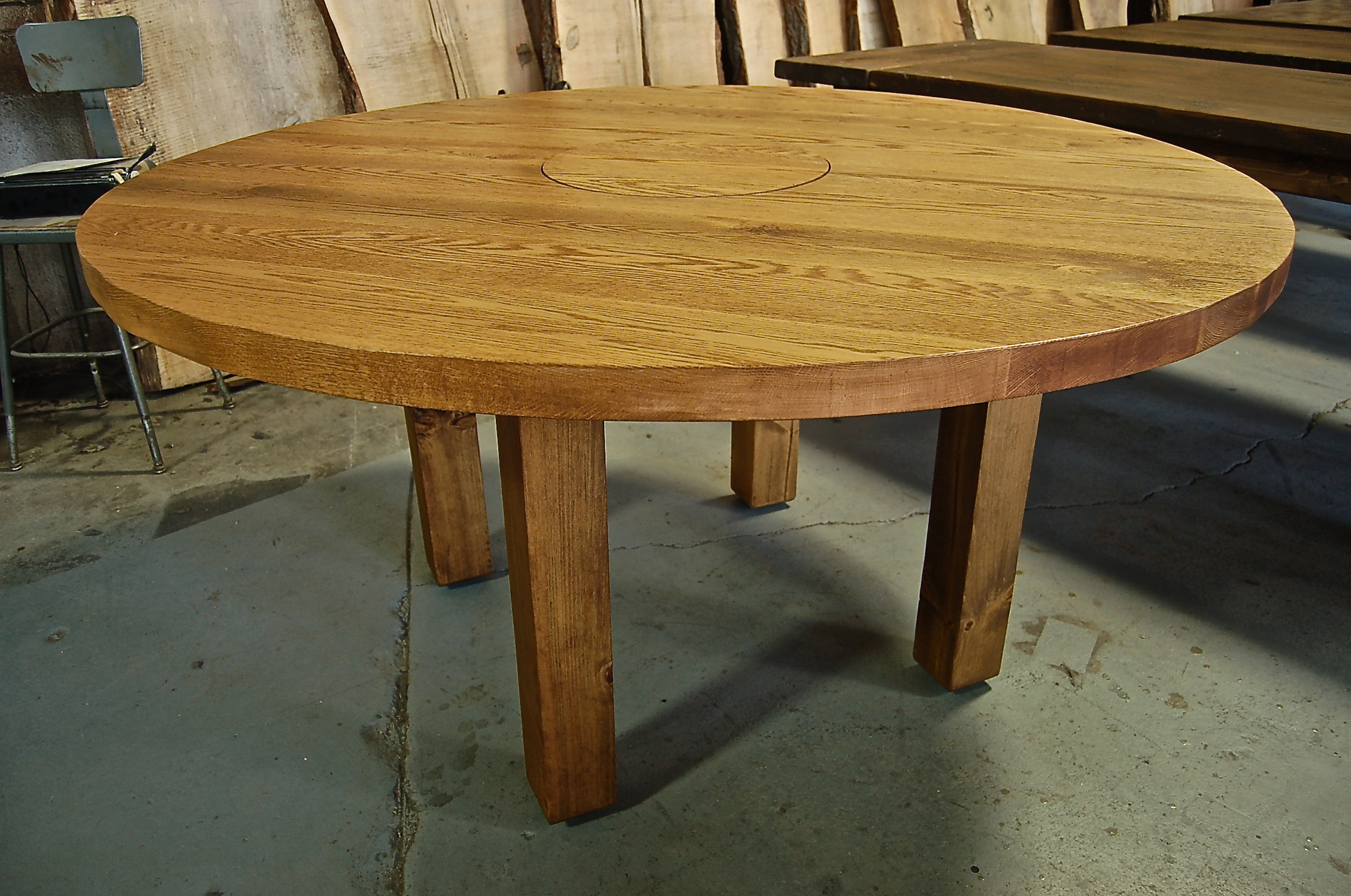 Round Oak Table on Four Square Legs