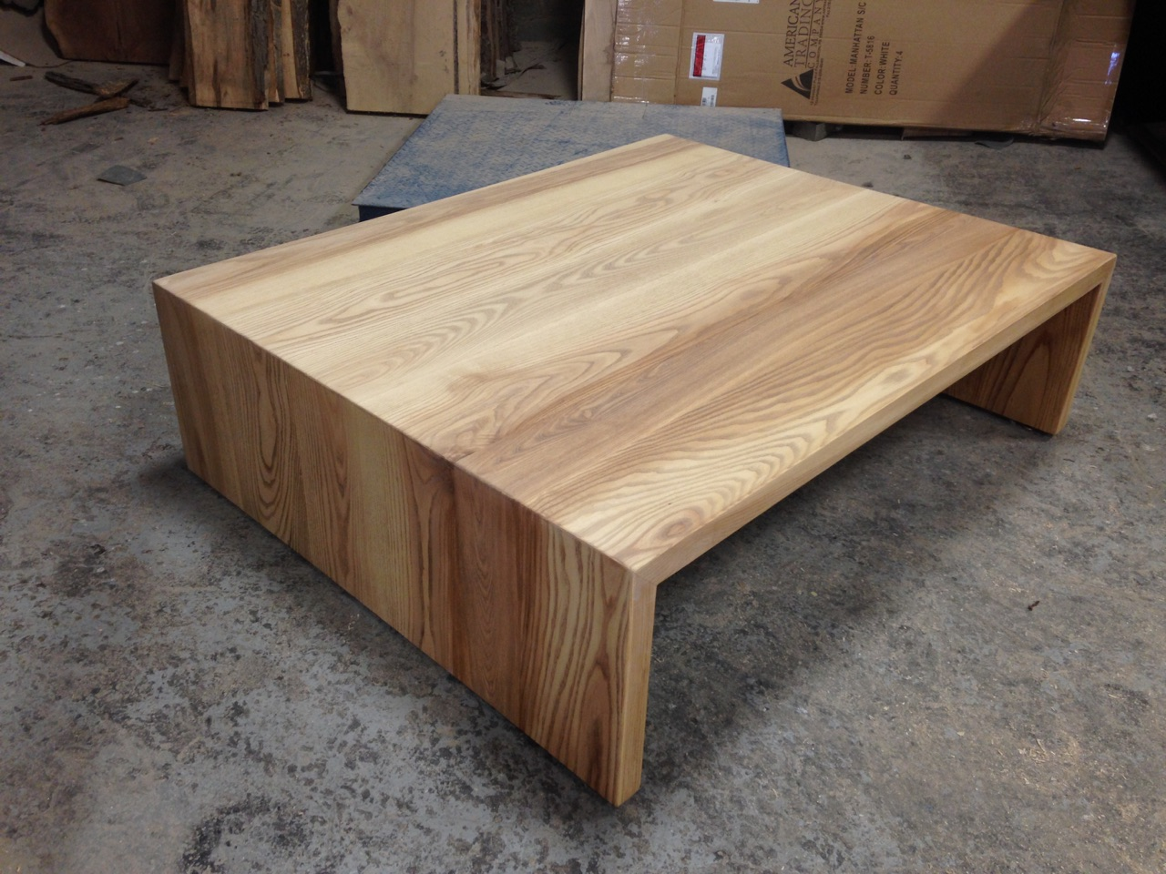 Ash Waterfall Edge Coffee Table. Natural Wood Color.