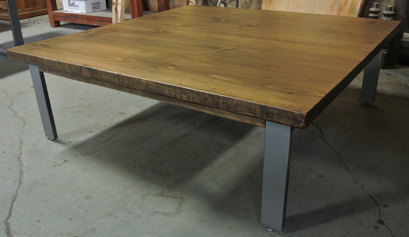 Pine Coffee Table with 3x1 Staple Legs. Finished in Bright Hammered Steel.