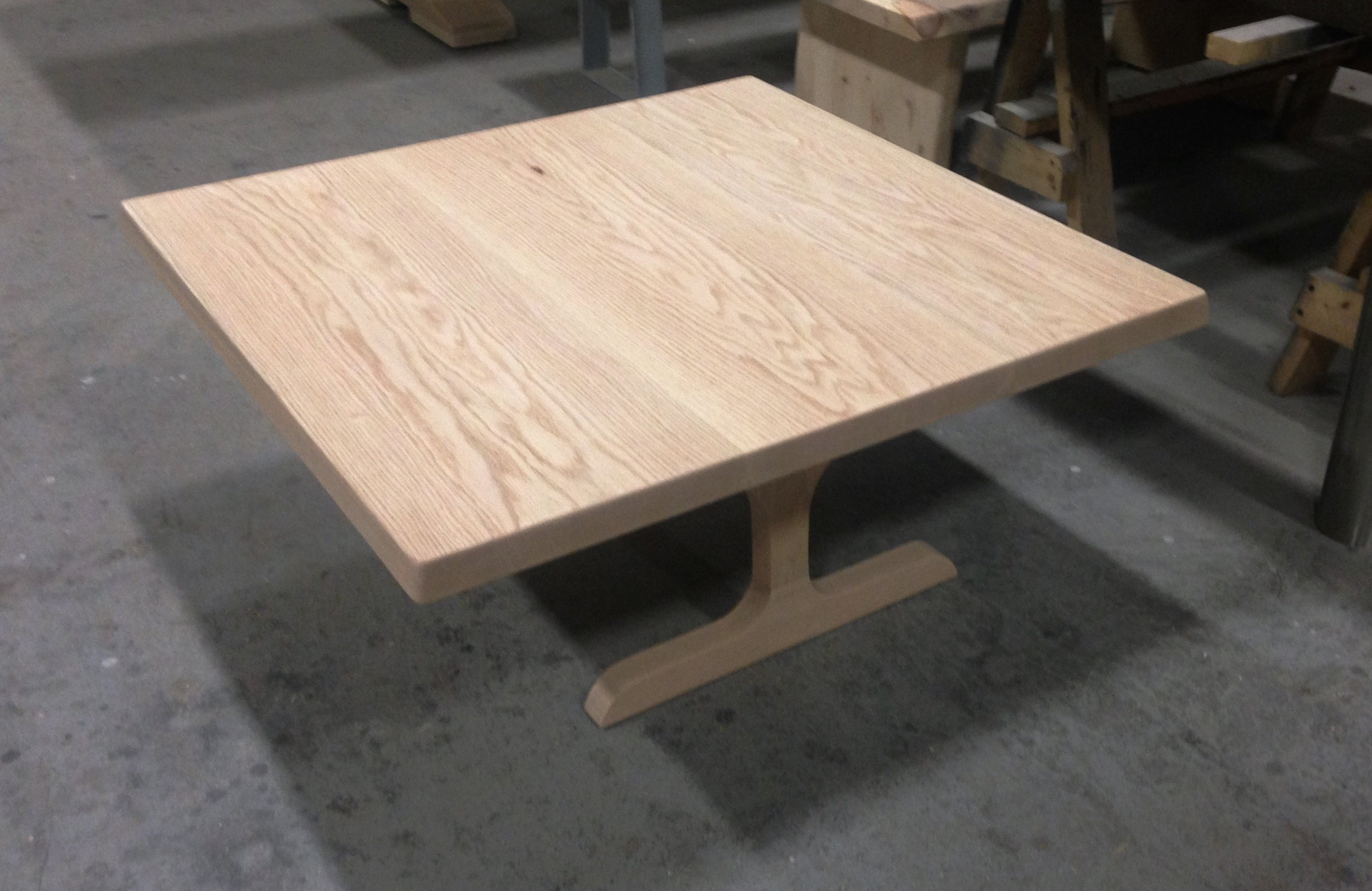 Red Oak Coffee Table with No Stain and Custom Trestle Legs.