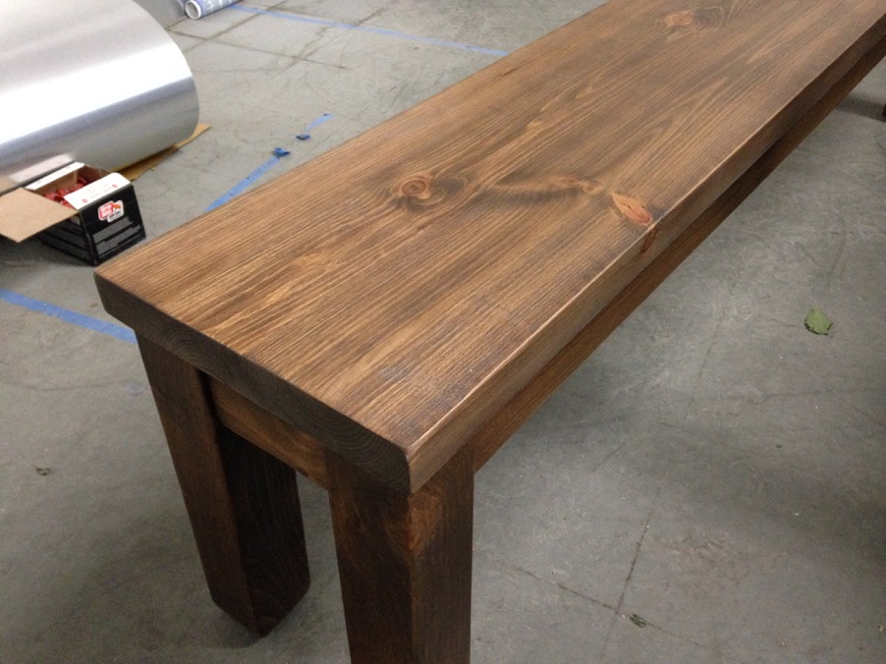 Farm Style Pine Bench with Square Legs.