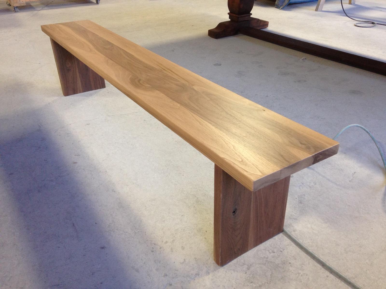 Solid Walnut Bench on Straight Slab Legs.