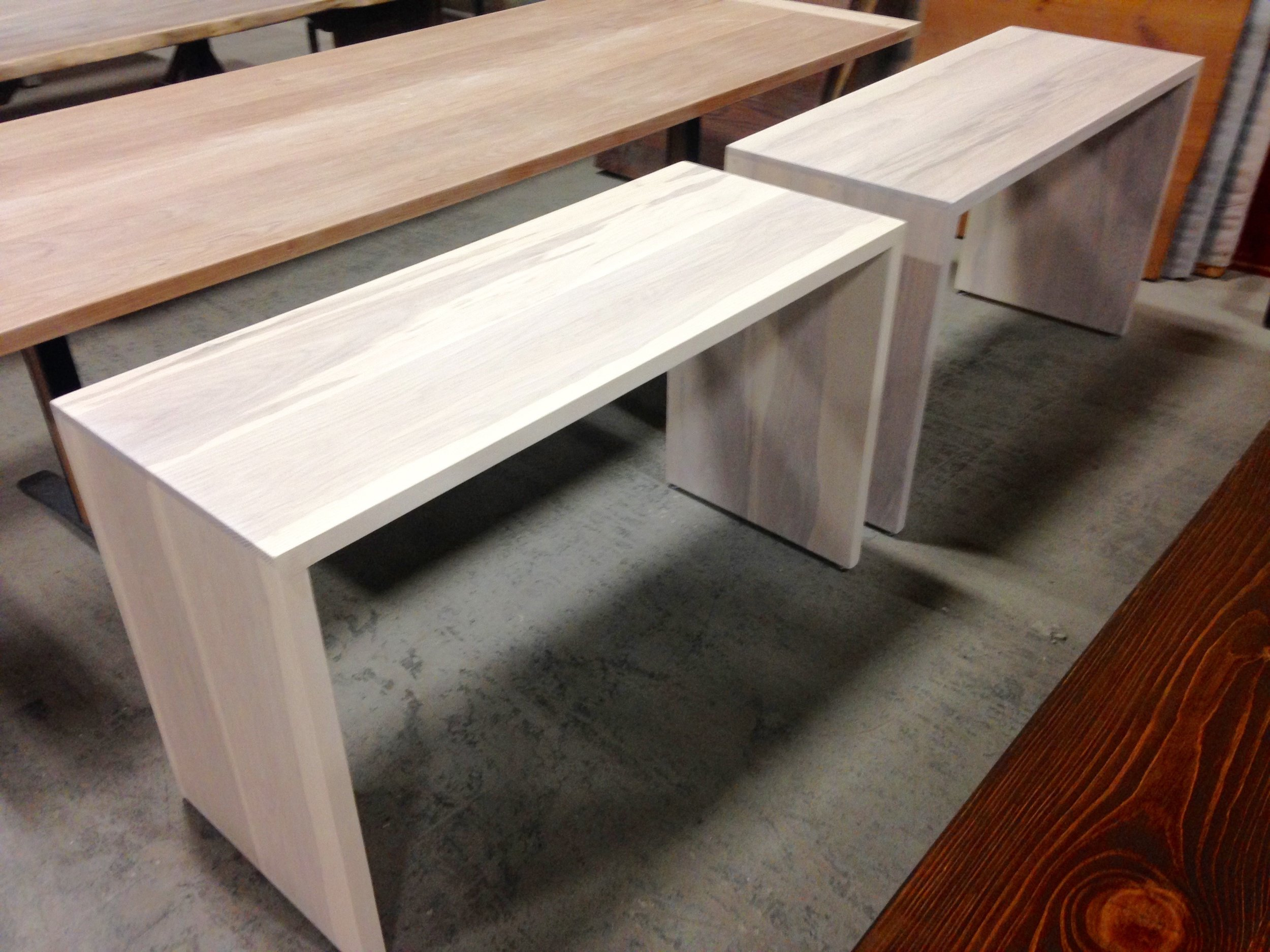 Ash Waterfall Console with Whitewash Stain.