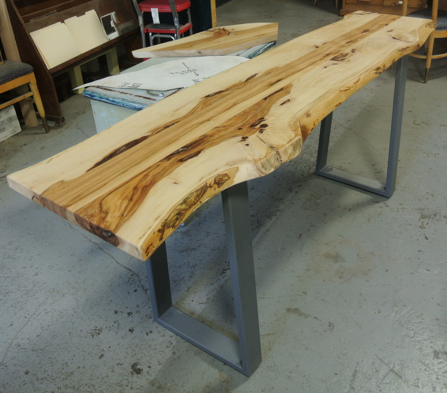 Hickory Live Edge Console on 3x1 Steel Legs.
