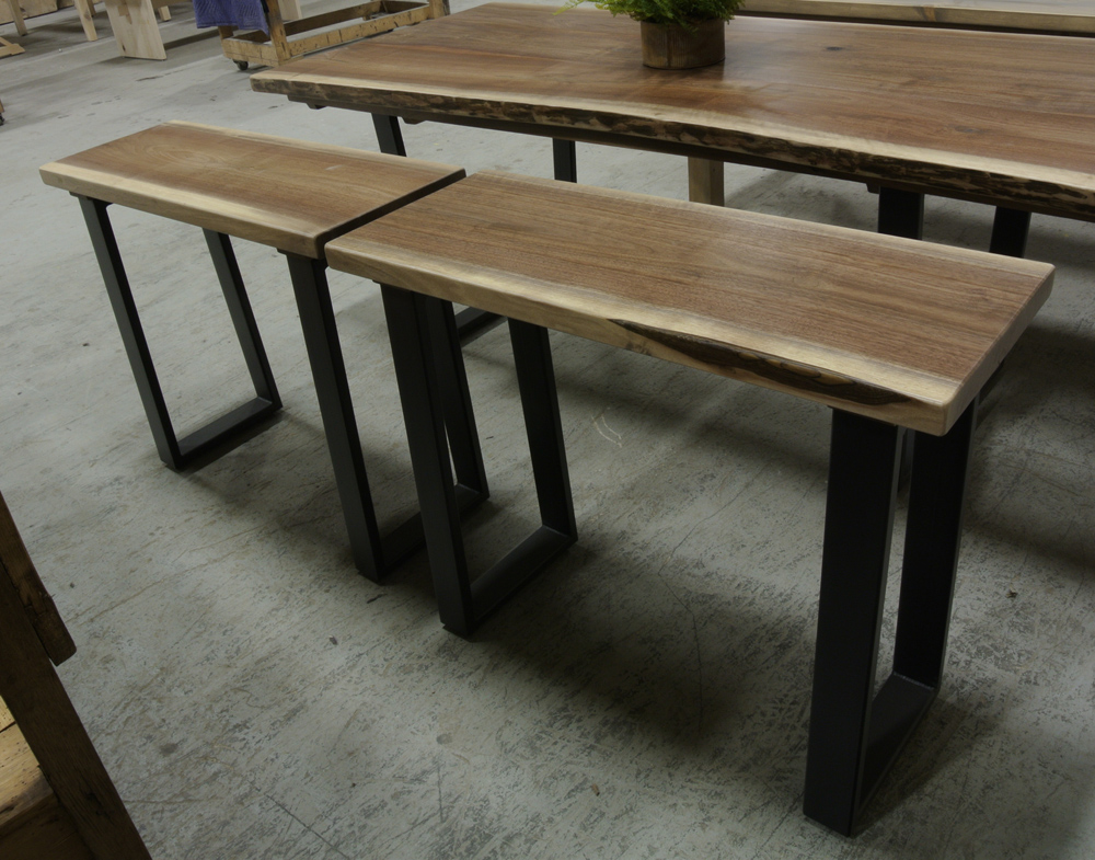 Joining Set of Walnut Live Edge Console Tables on 3x1 Steel Legs.