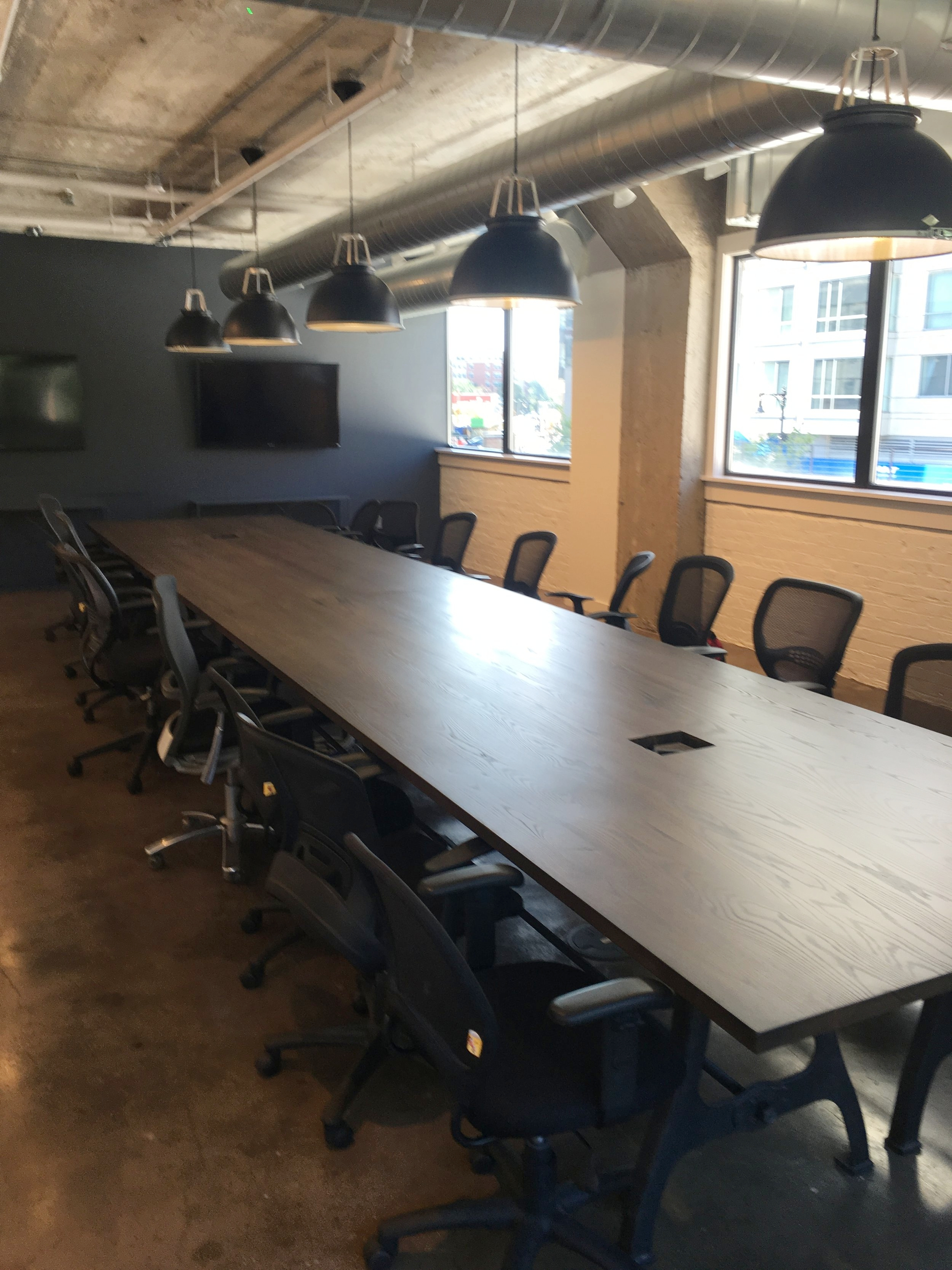 Ash 20' conference tables on Rhode Island industrial iron legs