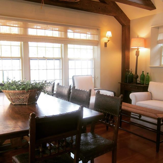 Great Lorimer Trestle table in gorgeous dining room #lorimerstudiosllc #diningroom #design #tabledesigns #buylocalri