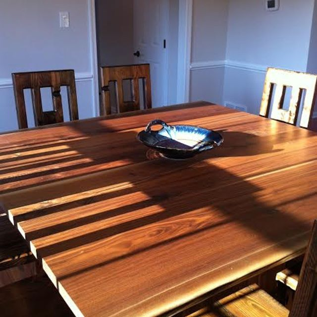 Walnut table in the sun #custom #madeinri #walnut