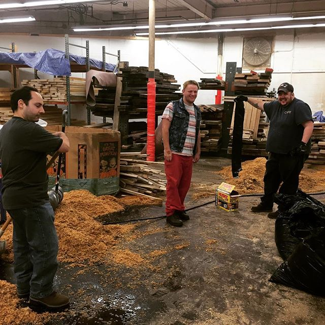 The Edge and End guys (adults with Autism) that are part of the Lorimer woodworkers training program saving the day.  Fantastic help cleaning up after a weekend of flooding in our workshop.  We are waiting for a new roof to be installed #autism #groden #woodworking #lorimerstudios #design #interiordesign