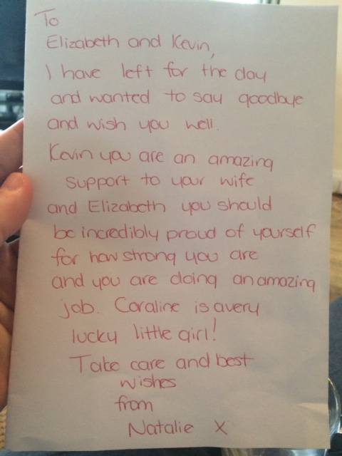 From one of the midwives during the first days of our six day stay