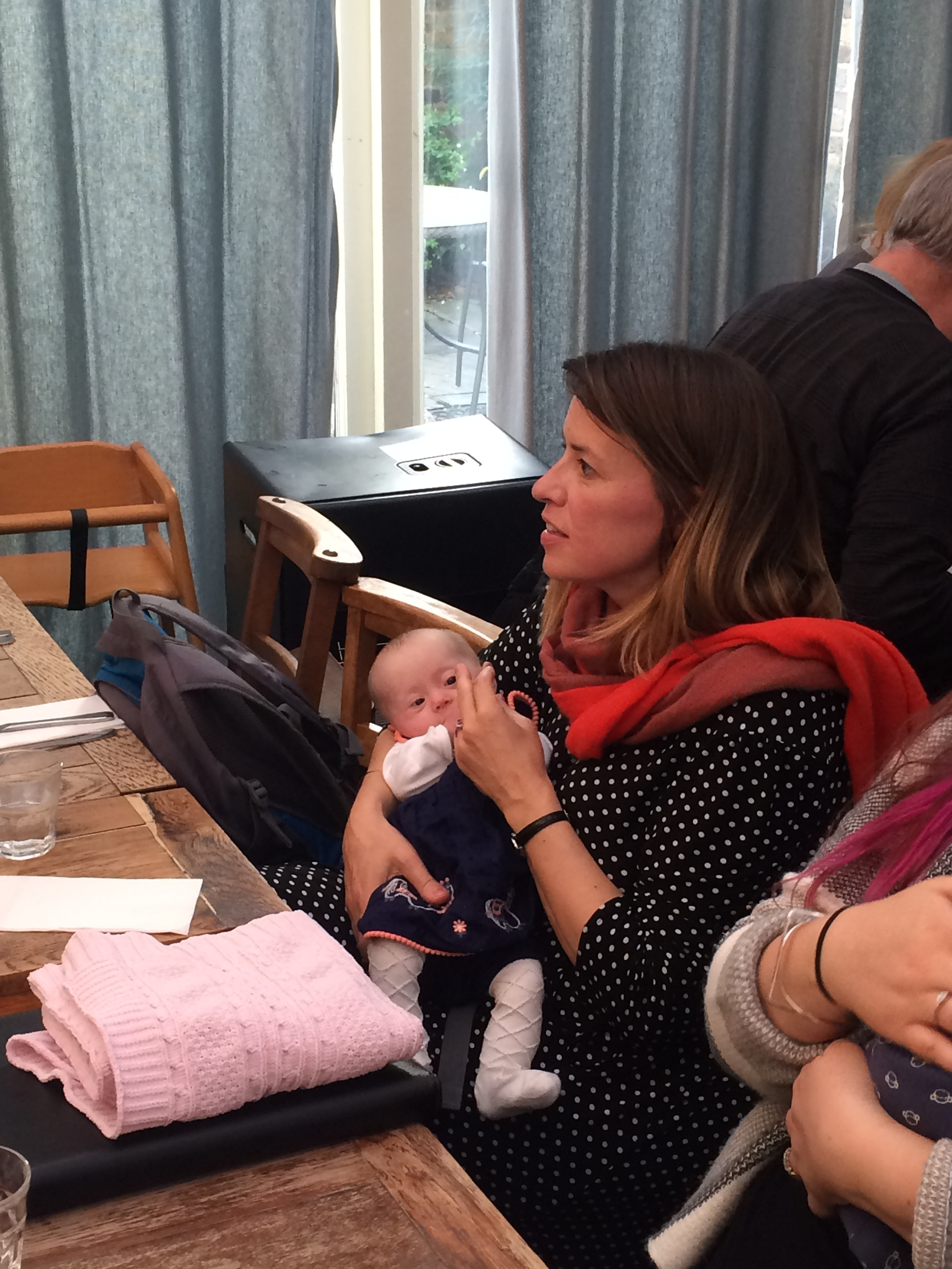 Lunch with our Antenatal group. Coraline three months old.