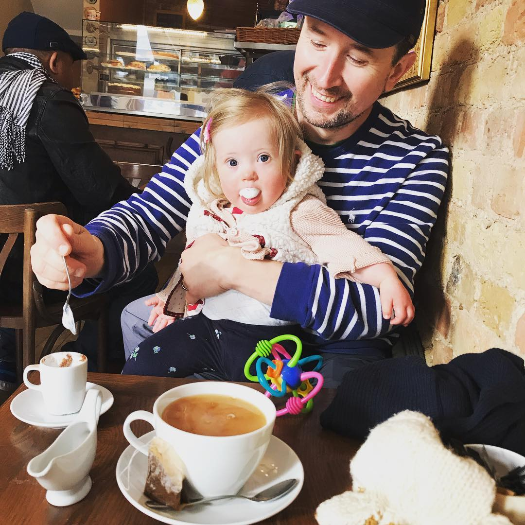 Coraline's first  #babyccino  which the man in the café brought over as a surprise, 3rd April 2019.