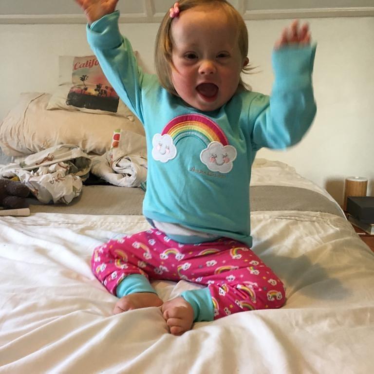 (photo of Coraline in new pyjamas in April)