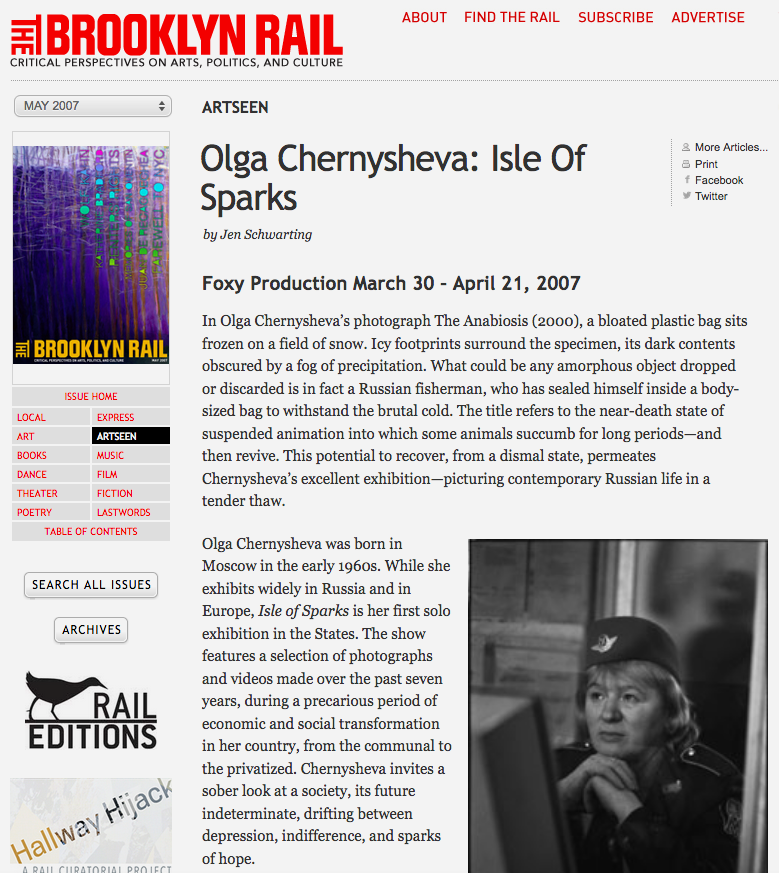 Review of Olga Chernysheva at Foxy Production for The Brooklyn Rail