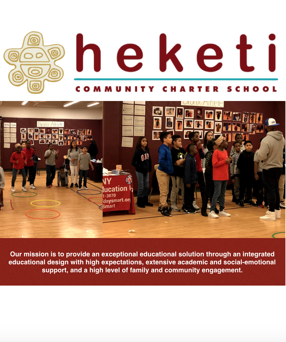 Thanks Heketi Community Charter for Hosting a Fun & Fit Pop-up - Heketi Community Charter School is a community-grown charter school located in the Mott Haven section of the South Bronx, dedicated to providing a rigorous and nurturing environment for students while fostering a warm family-oriented school culture and a strong connection to the community at large. Heketi opened its doors in 2012, where it welcomed its very first cohort of bright ambitious students.