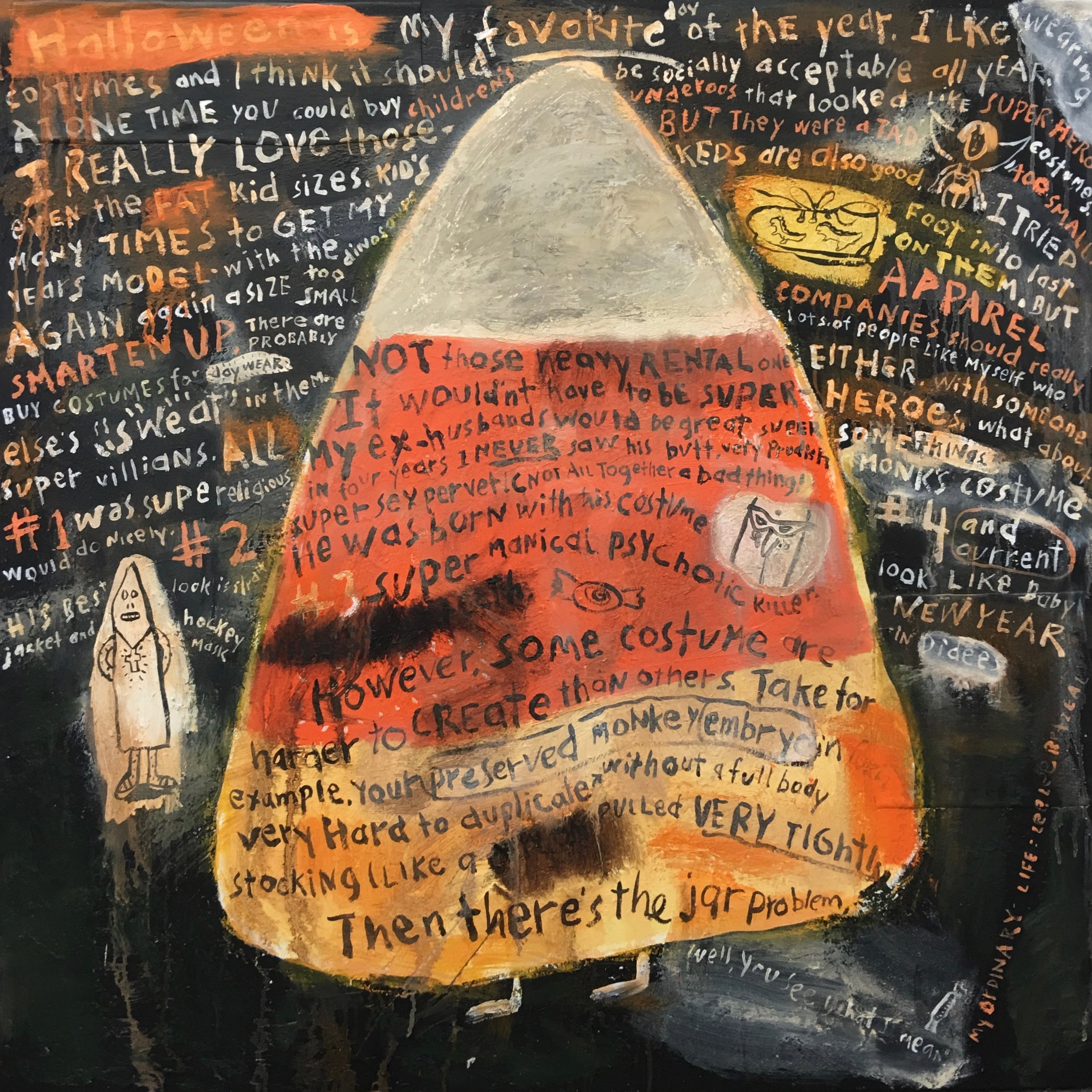 "My Ordinary Life: Costumes   36 x 36 x 2""  Mixed Media on Canvas"