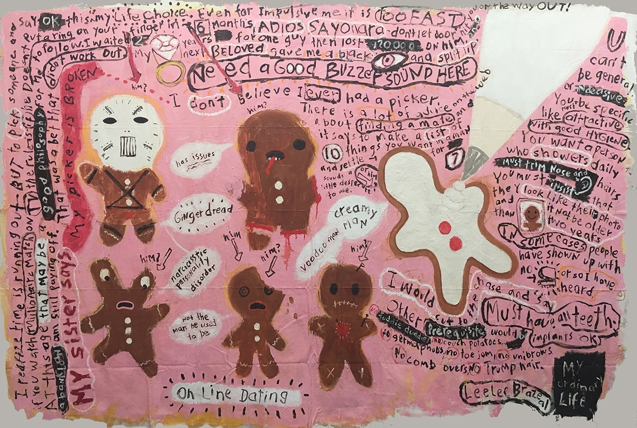 "On line Dating Series-   Gingerman-72"" x 101"" Oil on unstretched canvas"