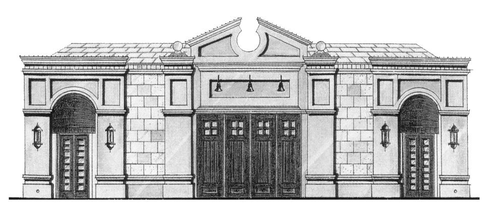 The original line drawing of the carriage house (1928) that would one day become our 24th STreet Theatre.