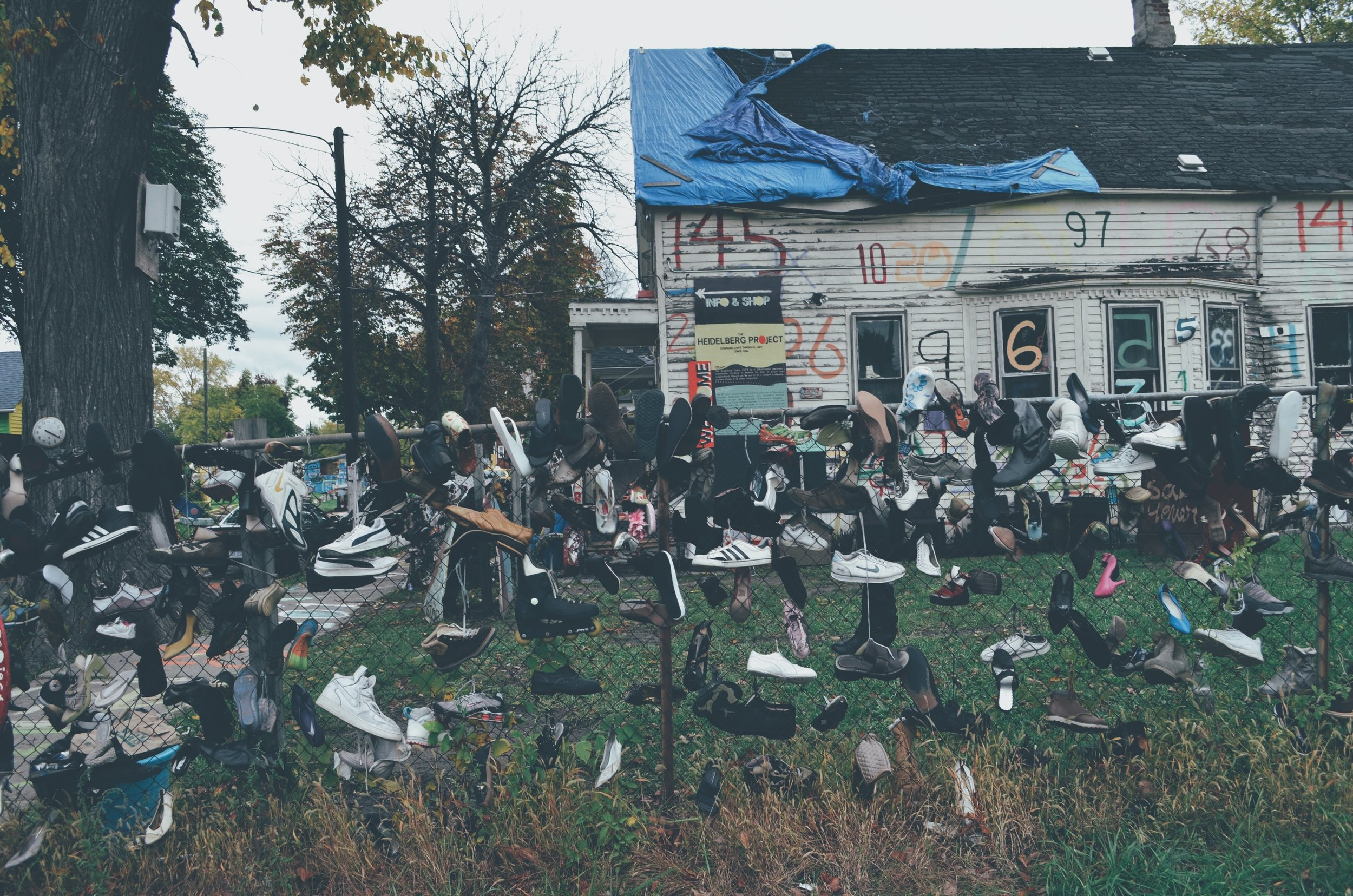 "Photograph contributed by [Neil Loewen]  ""This image is from ""The Heidelberg Project"". I interpreted it as a monument to abandonment and the dehumanization of many of Detroit's citizens, by the media and the outside world. The project was initiated with a different intention but this is what I took away from it. Sadly this project is threatened due to the many arsons that have been occurring in the neighbourhood over the past few years."" -NL"