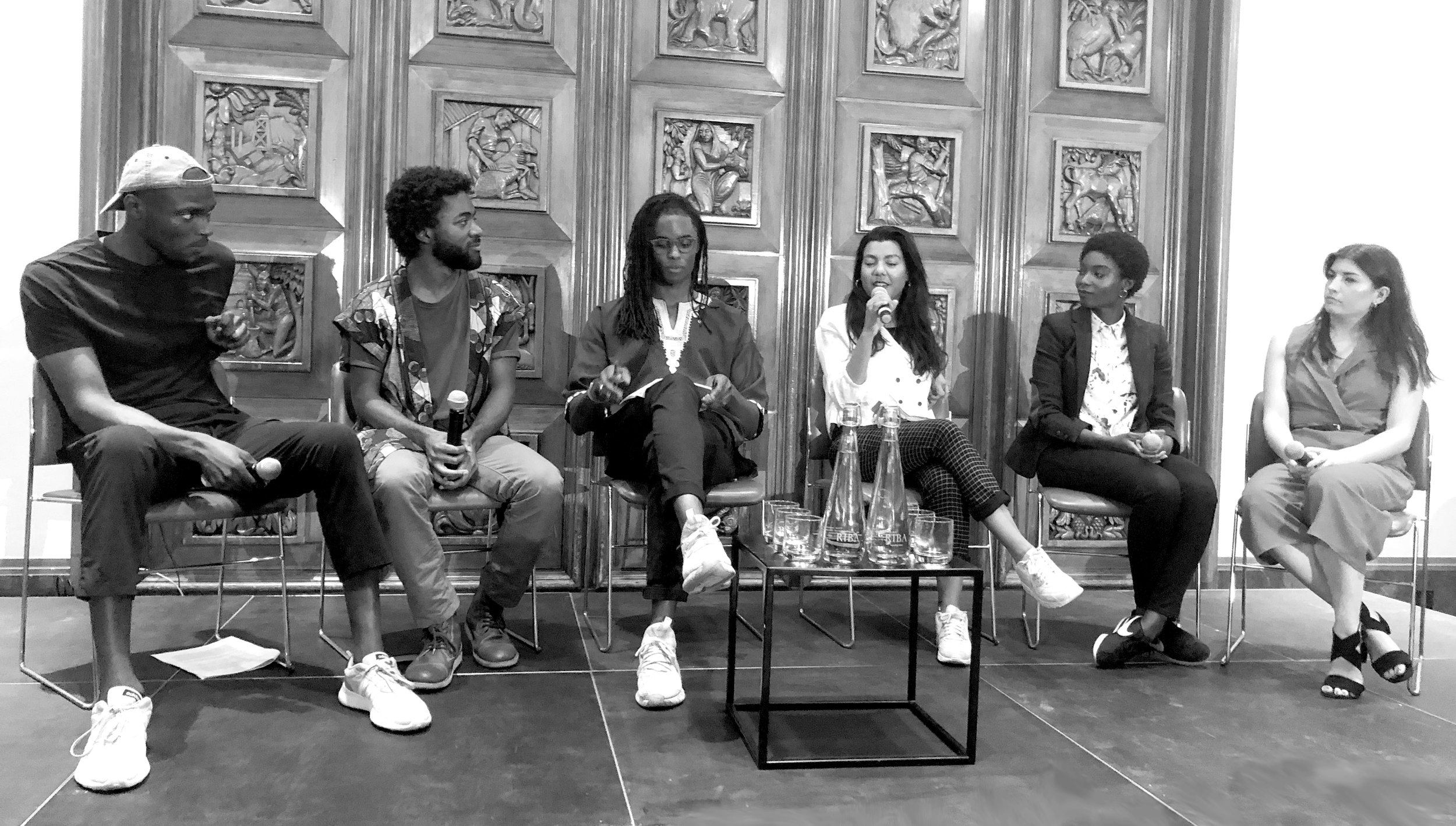 From Left to Right: Gameli Ladzekpo [Resolve Collective], Ahnanse [Steam Down], Akil Scafe-Smith [Resolve Collective], Kieran Yates, Selasi Setufe, and Abigail Patel
