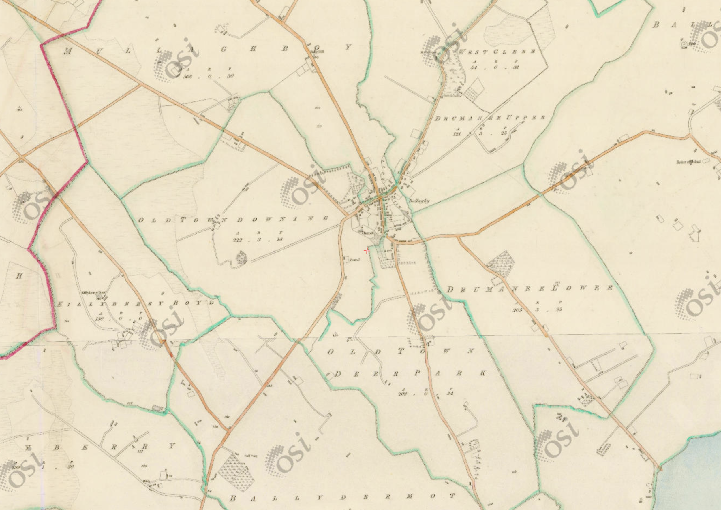 "Bellaghy, 1:5  000, Historic 6"" Map 1842  .  © Ordnance Survey Ireland, 2017"