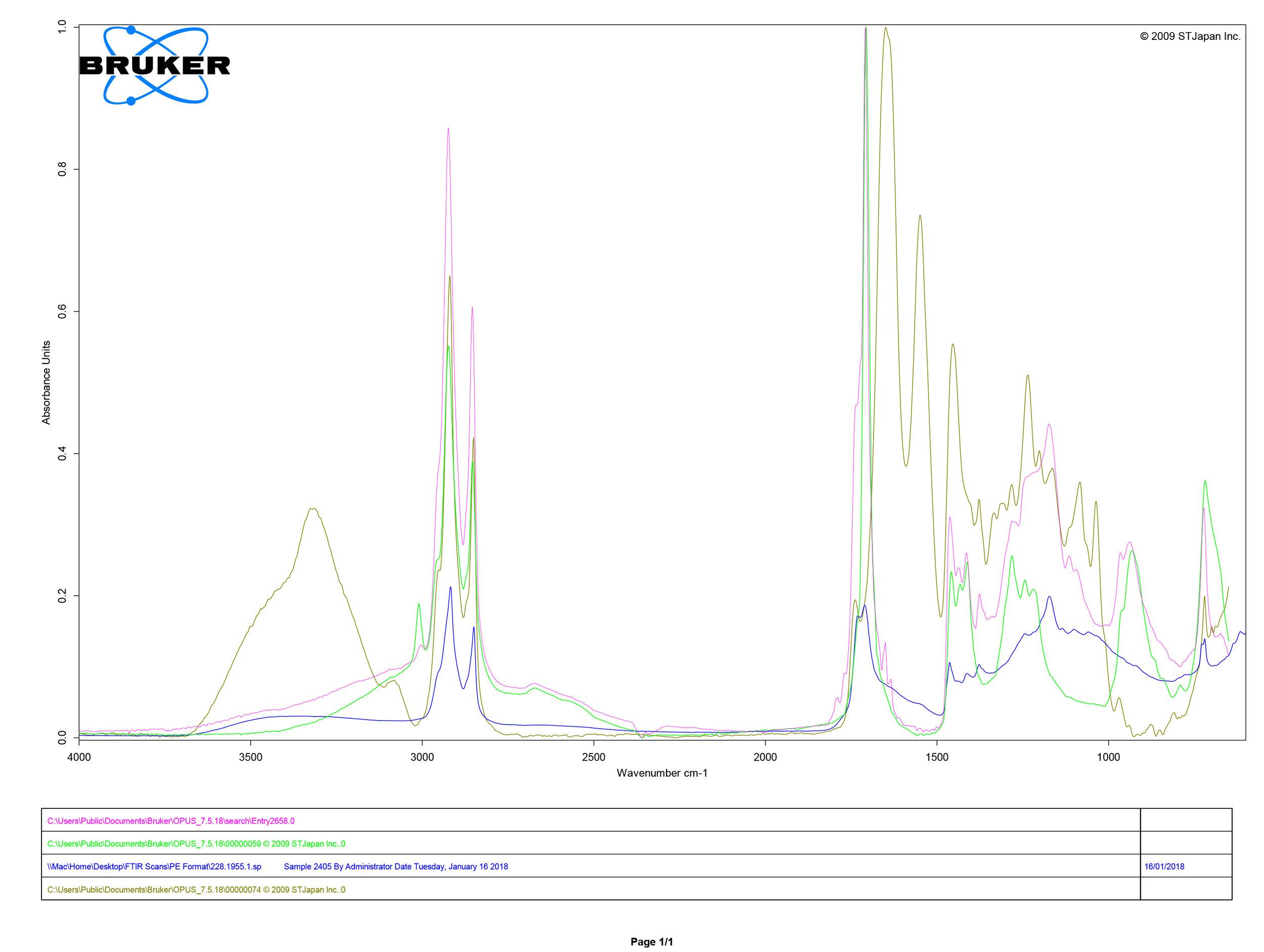 FTIR spectral analysis shoe 228.1955