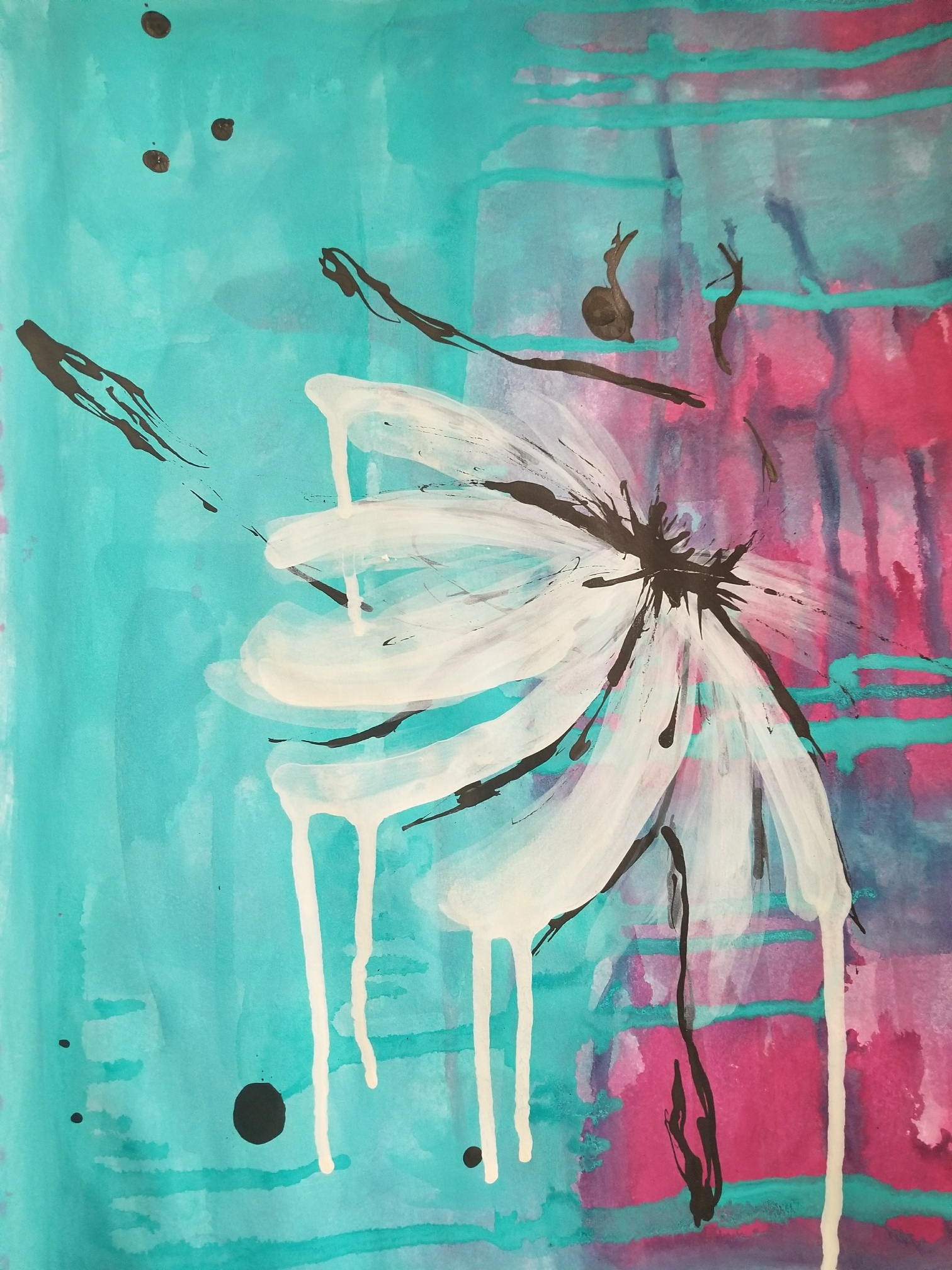 """Rainy Ballet I (Available) - Acrylic and ink on 98lb mixed media paper 11"""" x 14""""Price for original: $60"""