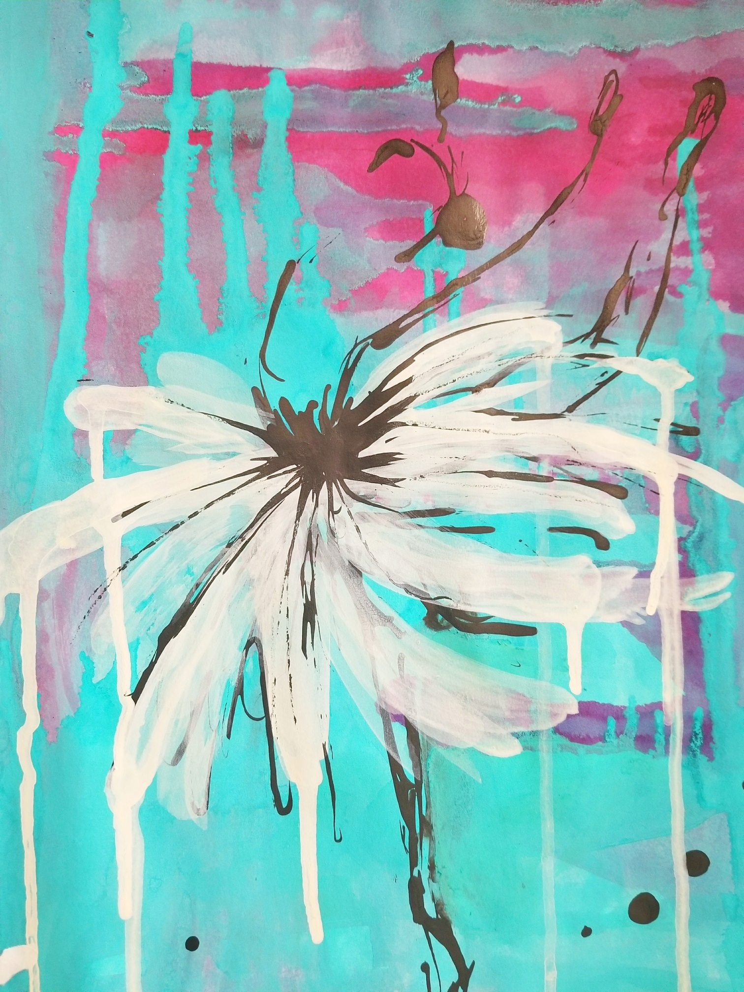 """Rainy Ballet II (SOLD) - Acrylic and ink on 98lb mixed media paper 11"""" x 14""""Price for original: $75"""