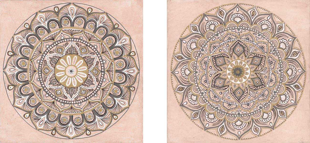 """Blush Mandala I & II (Available) - Published - also available in custom prints and canvasAcrylic and ink on canvas 12"""" X 12""""Price originals: $500"""