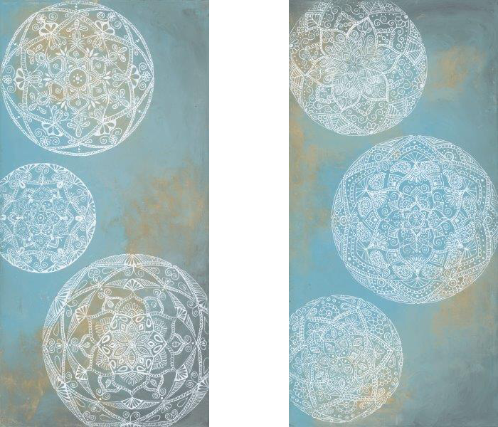 """Mystical Spheres I & II (Available) - Published - also available in custom prints and canvasAcrylic and ink on canvas 10"""" X 20""""Price originals: $500"""